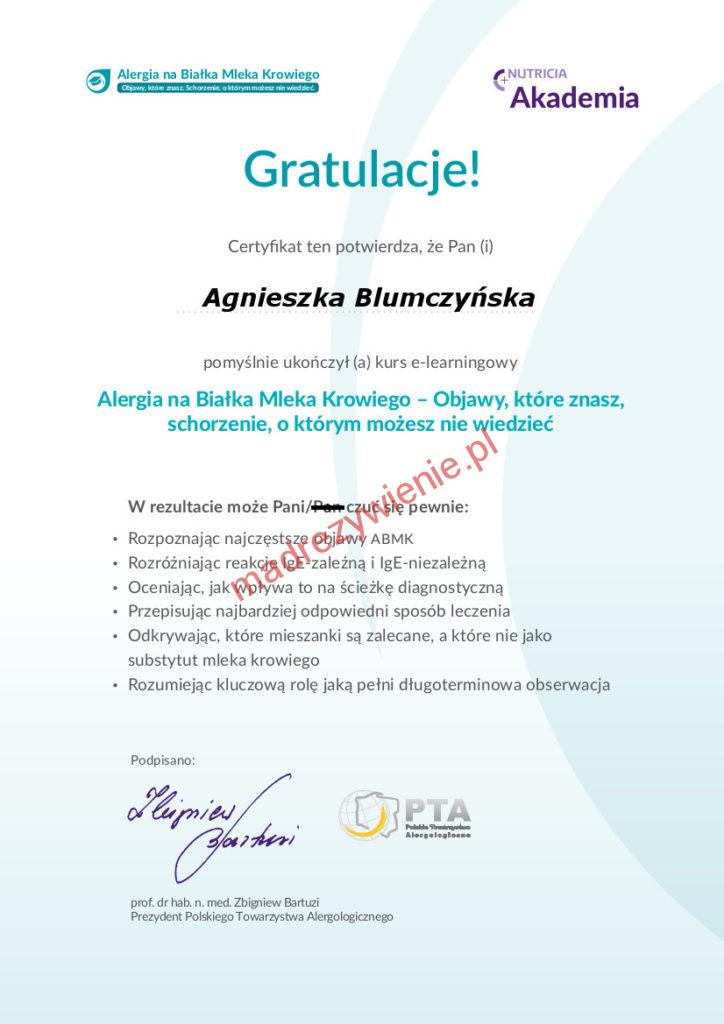 Certyfikat alergia nabiałka mleka krowiego