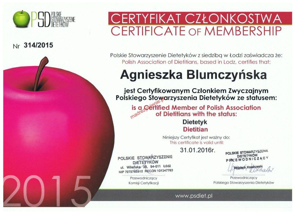 certyfikat członkostwa
