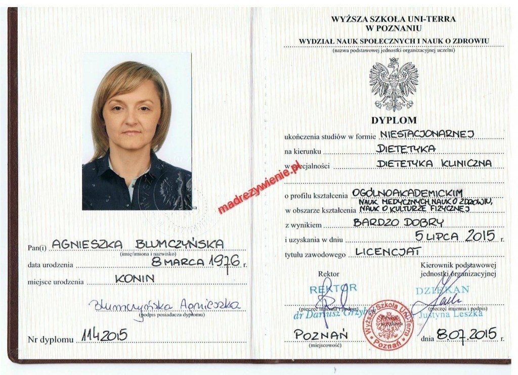 Dietetyk kliniczny - Agnieszka Blumczyńska